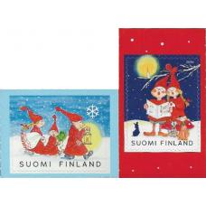 """Финляндия. Рождество. """"Купальщики"""" и """"На Рождественском концерте"""". 2 марки"""