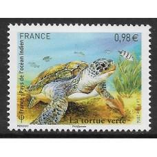 Франция. Зелёная черепаха. Совместный выпуск с ТААФ. Марка