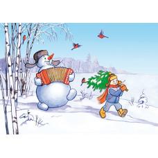 """Немаркированная почтовая карточка """"С Новым годом! Снеговик"""""""
