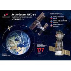 """Немаркированная почтовая карточка """"Экспедиция МКС-64. Полёт пилотируемого корабля """"Союз МС-17"""""""