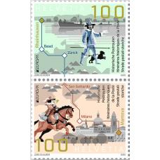 Швейцария. EUROPA CEPT. Старинные почтовые маршруты. Сцепка