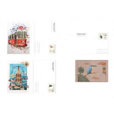 Турция. 150 лет Турецким почтовым открыткам. Набор из 3 карточек с оригинальной маркой