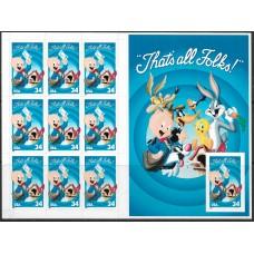 США. Поросёнок Порки (Porky Pig). Буклет из 9 зубцовых и 1 беззубцовой самоклеящихся марок